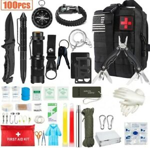 100 In 1 Outdoor Camping Survival Kit Tactical Hunting Emergency Gear First Aid
