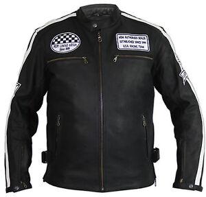 Uomo-Retro-Biker-Giacca-Di-Pelle-Giacca-Moto-Race-strisce-giacca-ROCKER-CHOPPER