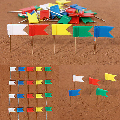 100X Flag Marker Shape Map Pins Cork Notice Board Push Pin Assorted Office Home