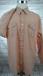 Men-039-s-Timberland-Plaid-Button-Front-Long-Sleeve-Shirt-Orange-Size-XL
