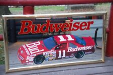 Large Vintage Budweiser Nascar Mirror Bar Sign Bill Elliott Geoff Bodine