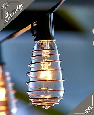INDOOR OUTDOOR VINTAGE LOOK EDISON STYLE 10 LIGHT BULB STRING LIGHT PARTY SET