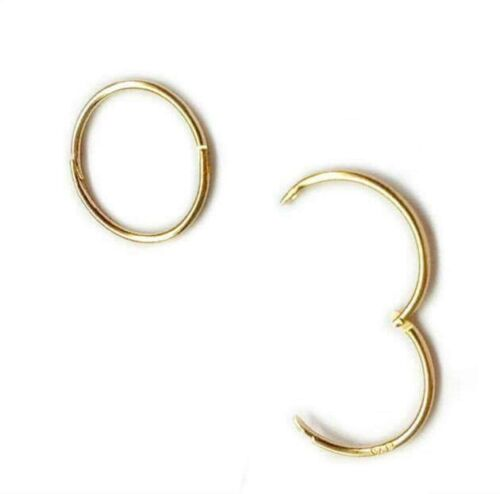 Gold Plated on Sterling Silver 925 13mm Plain solid Hinged Sleeper Earrings ER J