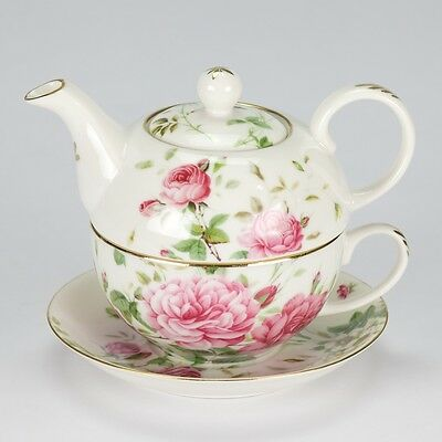 NEW Vintage style High Tea for One set Teapot cup rose porcelain garden white
