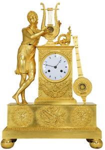 PENDULE-APOLLON-Kaminuhr-Empire-clock-bronze-horloge-antique-cartel-uhren
