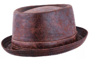 Maz-Cracked-Leather-Distressed-Vintage-Pork-pie-Hat-Brown
