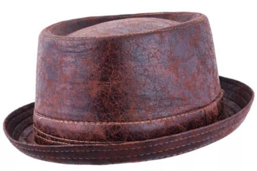 Marron porté en cuir effet vieilli Vintage Pork Pie Hat-Rapide Livraison Gratuite 1st Classe