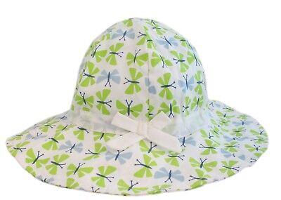 Bambine Bianco Farfalla Verde Falda Larga Secchio Cappello Sole Mento Età 2-7