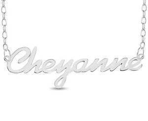Details about Cheyanne Name Plate Necklace Sterling Silver Women Pendent  Personalized Custom