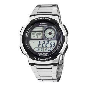 9bfd685e0ac4 Casio Men s World Time Silver-Tone Bracelet Digital Sport Watch ...