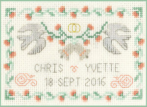 Coral Wedding Anniversary Sampler; cross stitch kit on 14 aida with colour chart