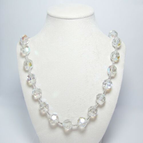 """Vintage Crystal Necklace Czech 14mm Faceted Glass Beads 18/"""" Strand String"""