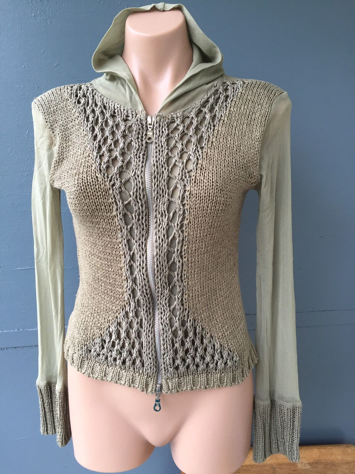 NWOT TRIBECA olive green knit mesh Blouse sz.S hood,front Zipper,made In