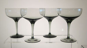 FANTASY-ORREFORS-Champagne-Sherbets-5-1-4-034-SET-of-FOUR-Smoked-Glass-Imperfect