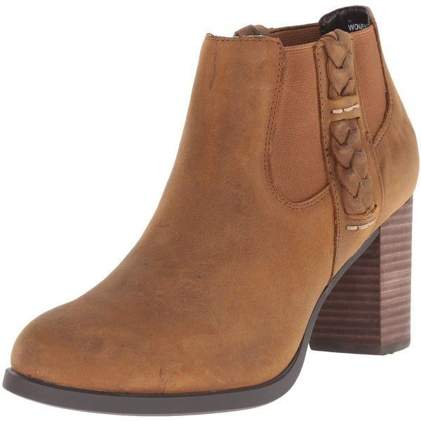 WOMENS SPERRY BOOTS Dasher Leah Brown Pull On Stacked Heel Ankle Booties 9.5