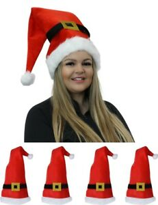 Father-Christmas-Hat-4-Pack-Festive-Red-And-White-Santa-Novelty-Party-Elf-Belt