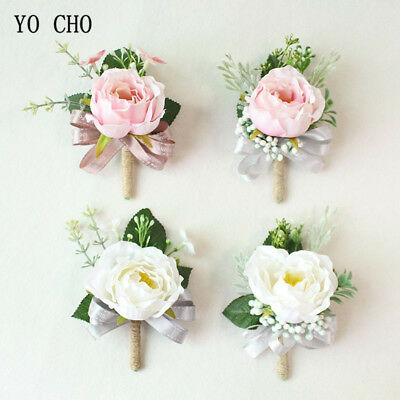 Pink Roses Wedding Bridal Wrist Corsage Bracelet Groom Boutonniere Flowers White Ebay