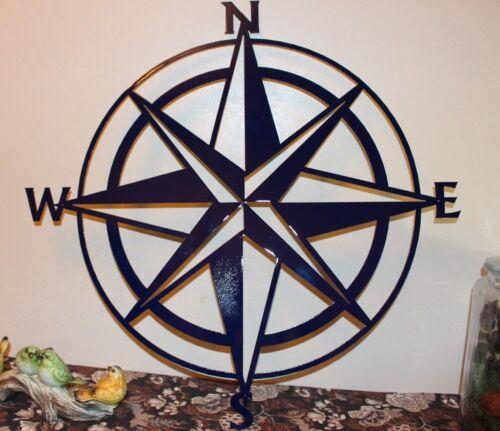 "Nautical COMPASS ROSE  WALL ART DECOR 24/""  Navy Blue Version"