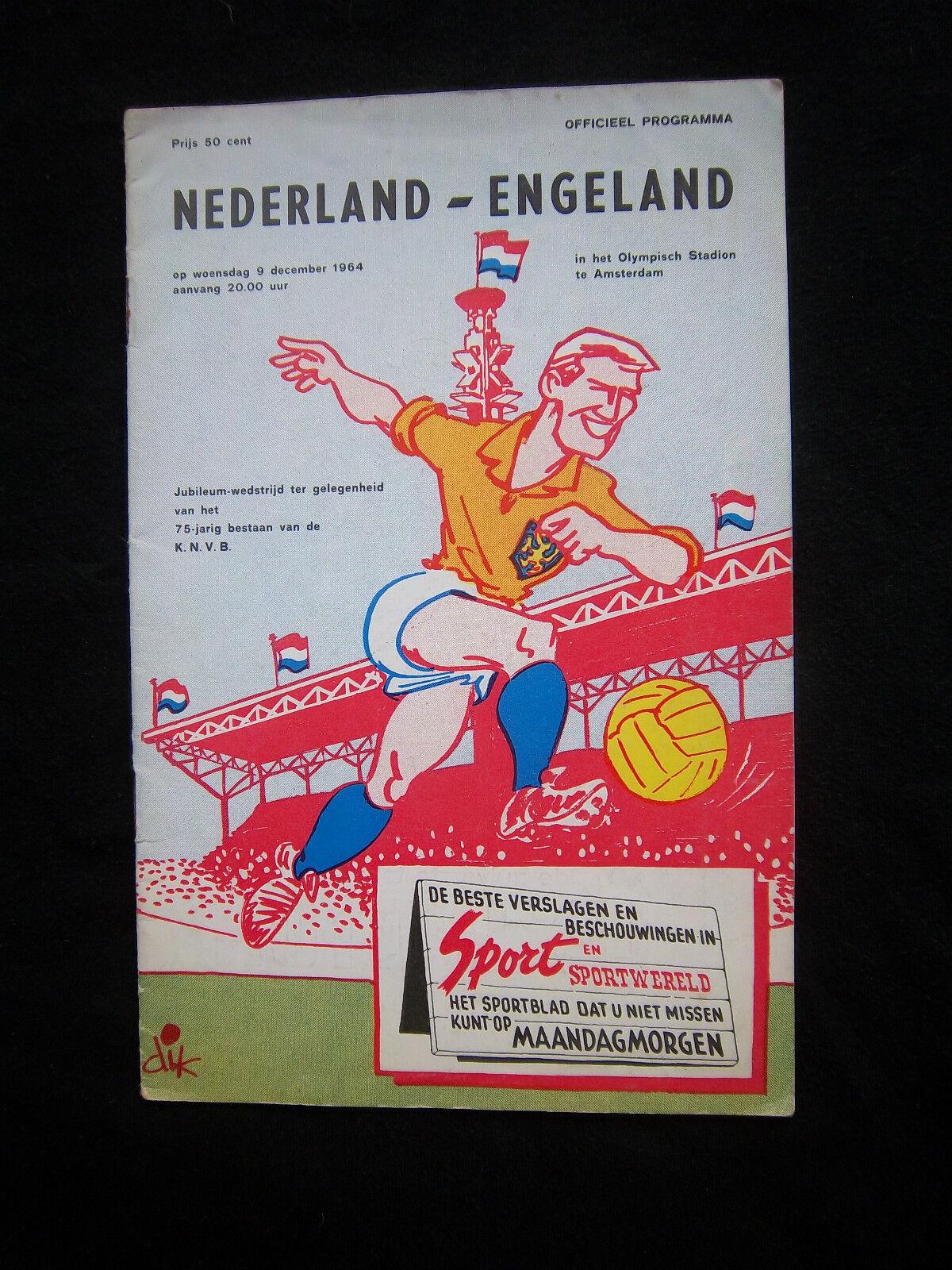 Orig.PRG      09.12.1964  in Amsterdam   NIEDERLANDE - ENGLAND      SEHR SELTEN f2d029