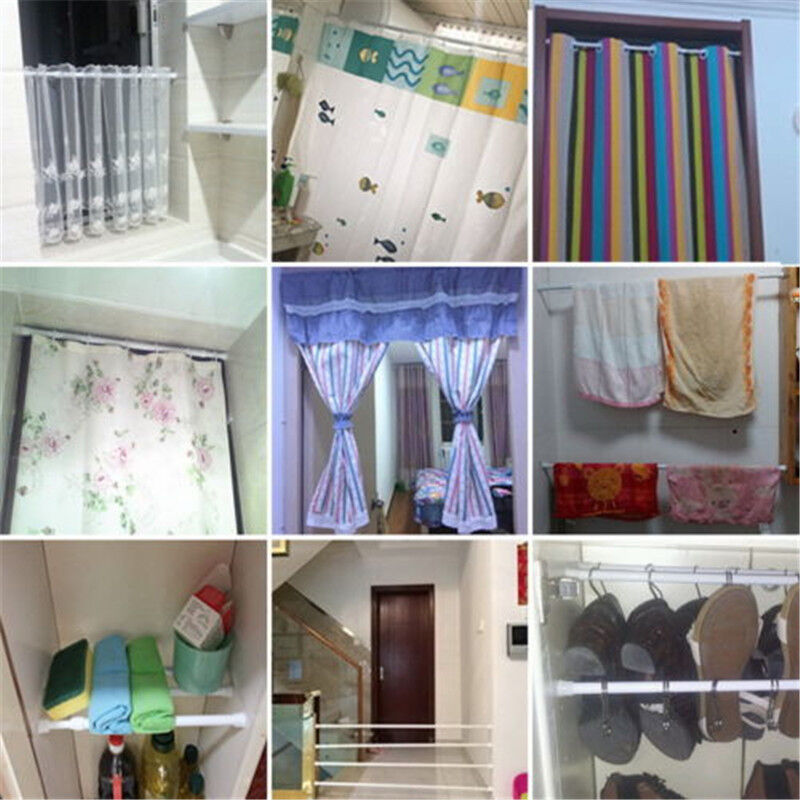 Spring Load Extendable Telescopic Net Voile Tension Curtain Rail Pole Rod No 5