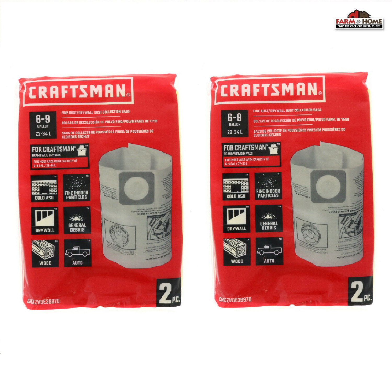 (2) Craftsman Shop Vac 6-9 Gallon Dry Dust Bags ~ New