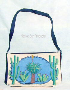 Purse-Handbag-Desert-Cactus-Design-Cotton-Canvas-13x19-Zips-close-Southwest