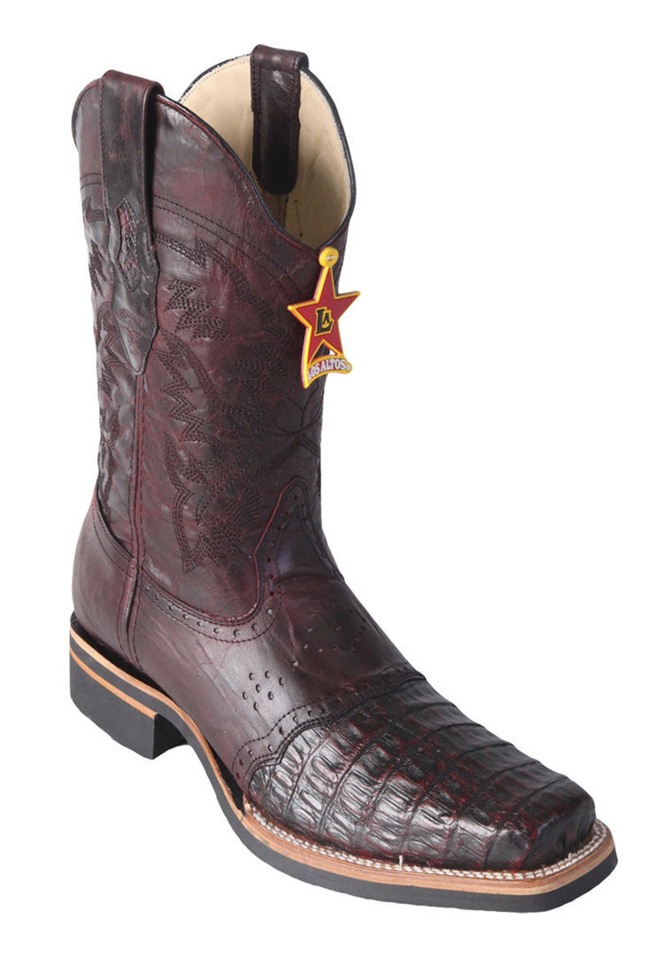 Los Altos CHERRY Genuine Crocodile Caiman Rodeo Square Toe Western Boot EE+