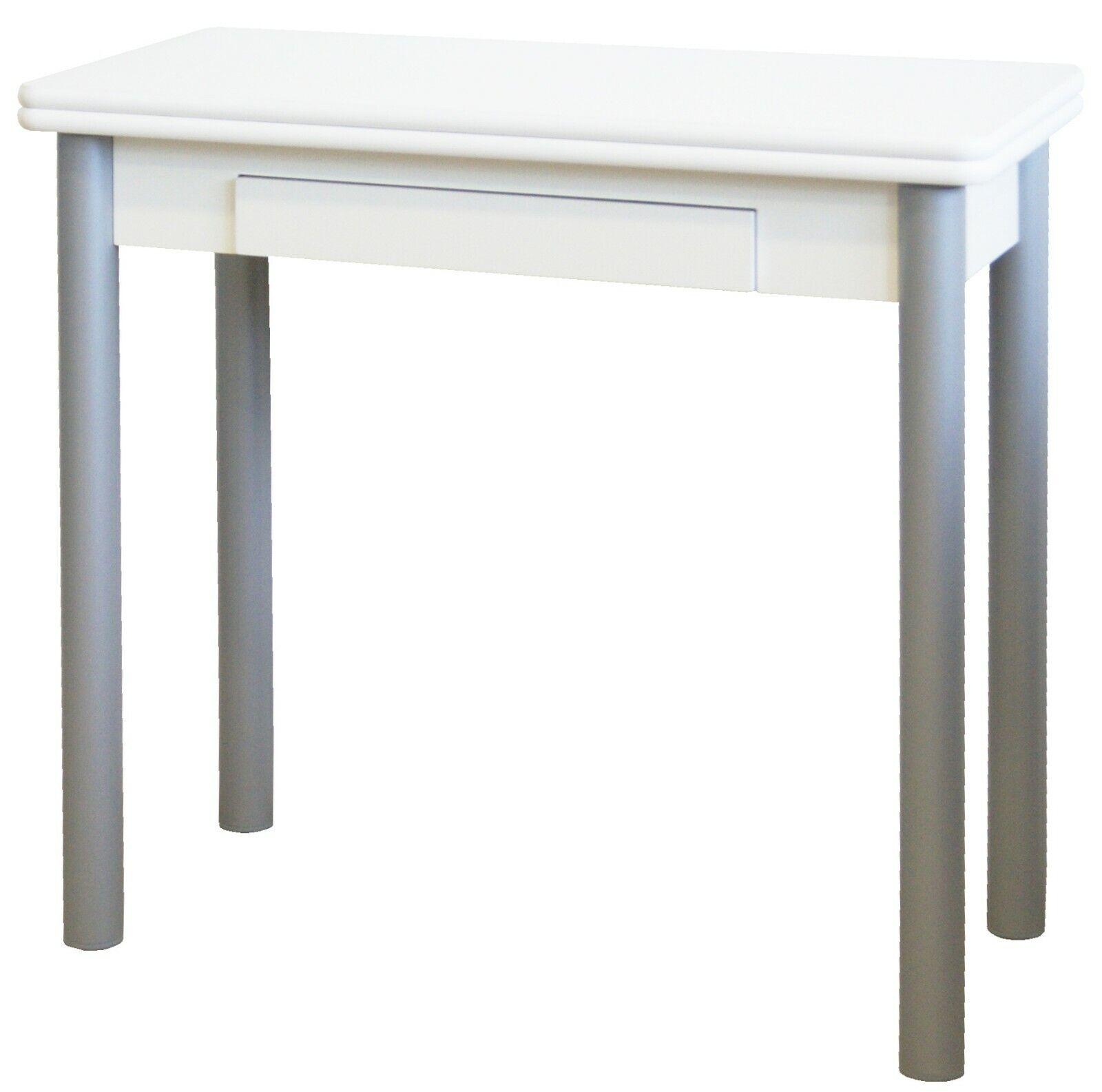 Mesa blanca plegable cocina Mijas cajon funcional patas gris plata 80x40-80