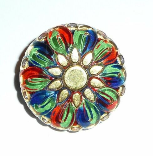 Bohemian Style Flower Czech Glass Button w// Hand Painted Gold Color 28mm