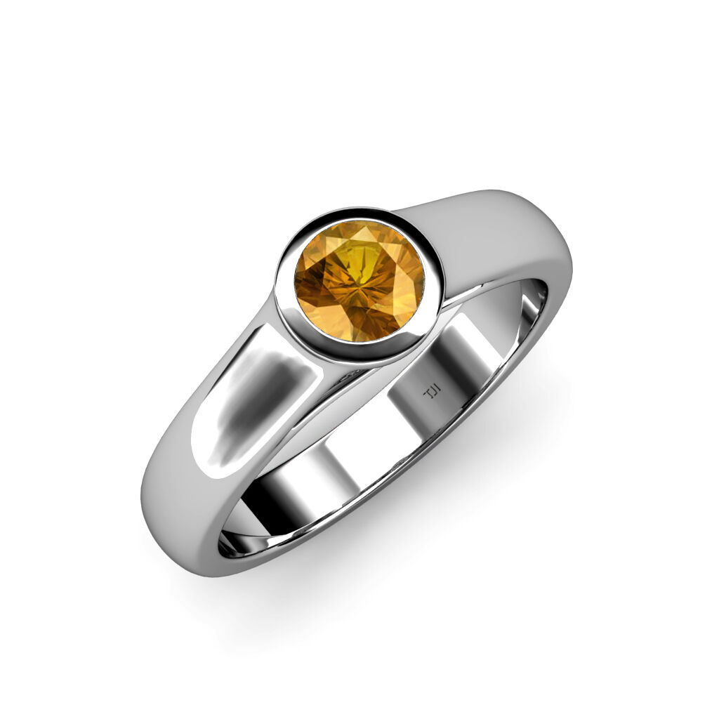 Citrine Solitaire Engagement Ring 0.65 ct in 14K gold JP 82952