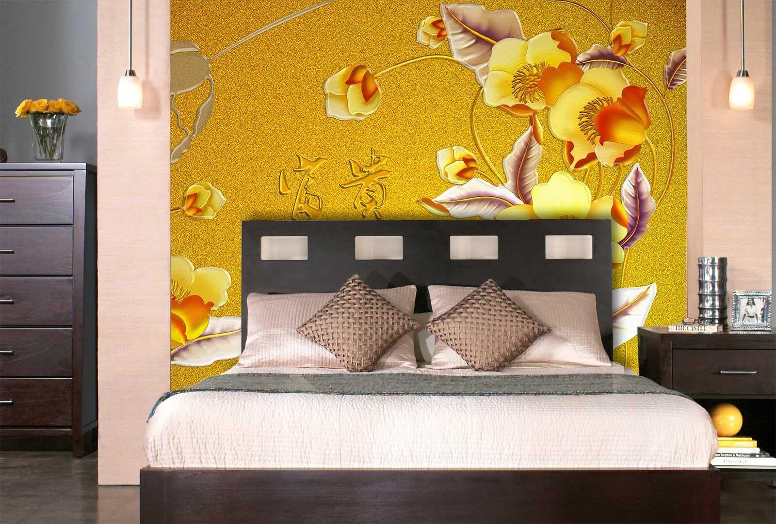 3D Gold Hintergrund Blaumen 77 Tapete Wandgemälde Tapete Tapete Tapete Tapeten Bild Familie DE | Ausreichende Versorgung  | Reparieren  | Gemäßigten Kosten  064527