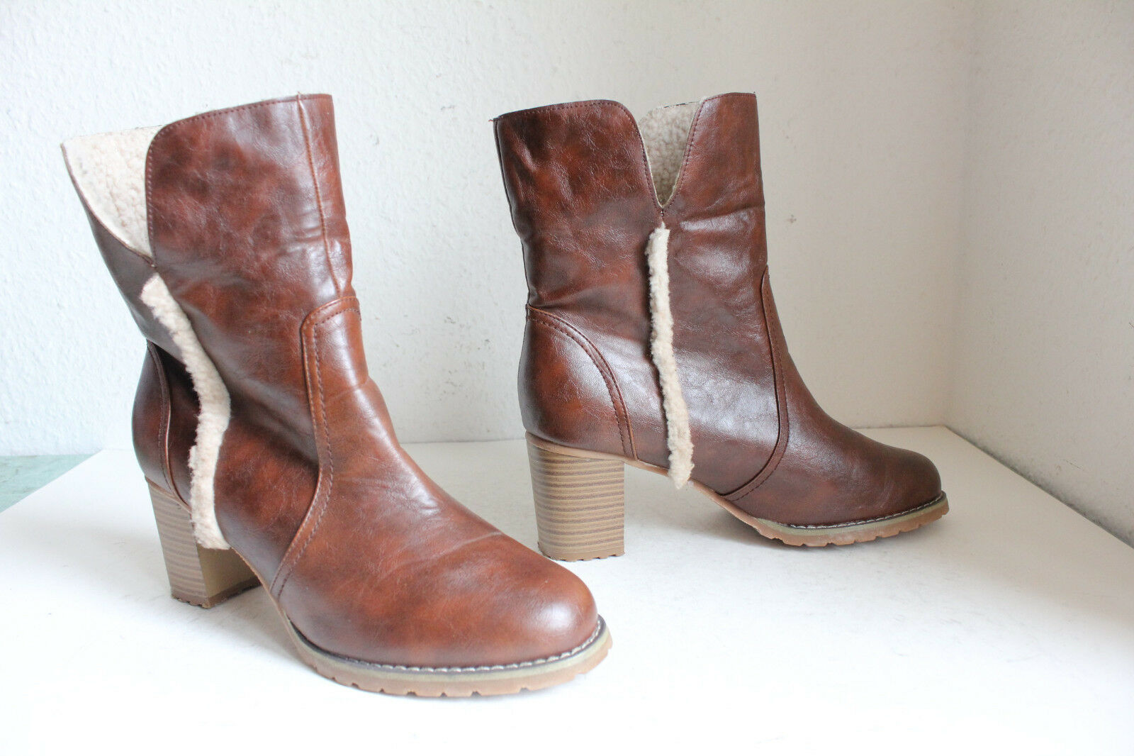 Claudia chizzani elegante invierno botines botas de cuero genuino marrón eu:39-39, 5