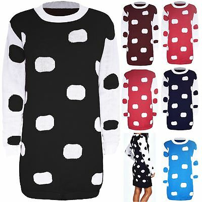 Womens Knit Polka Dot Sweater Ladies Contrast Sleeves Baggy Tunic Jumper Dress