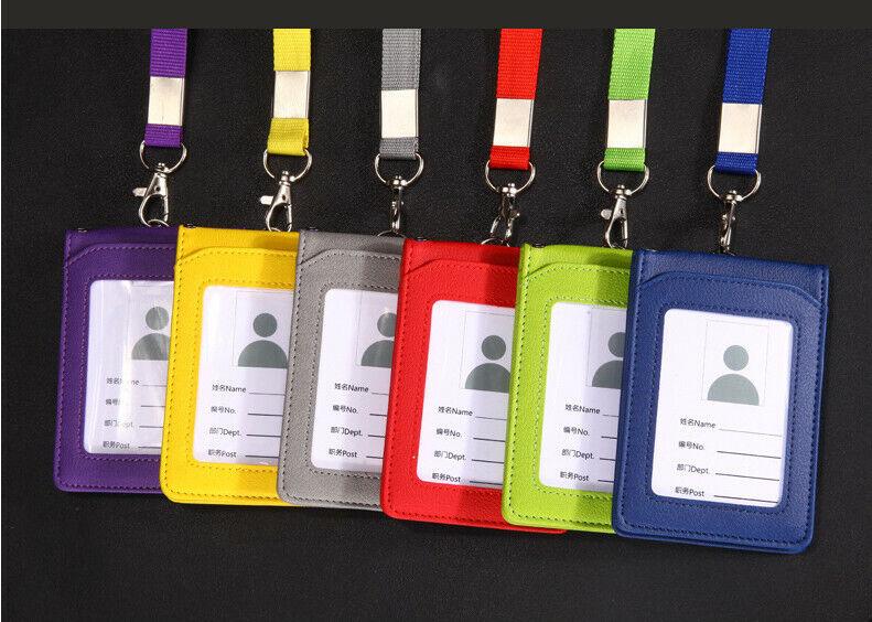 PU Cuir Id Carte Support Badge Travail Crédit Étui Slim Moulinet Cordon Main