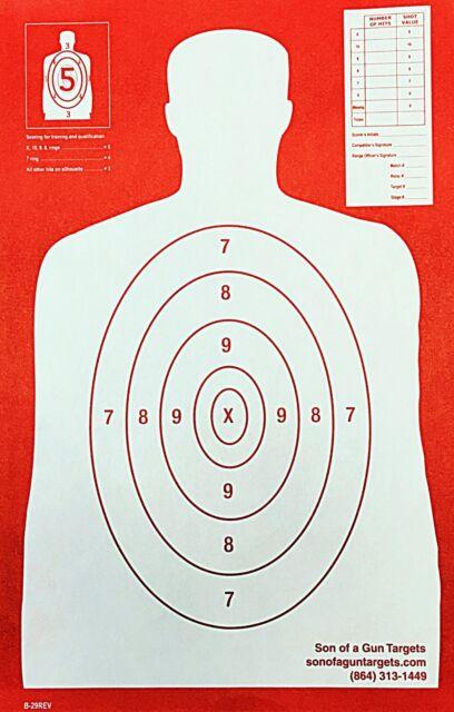 Paper Shooting Targets Red Silhouette Gun Pistol Rifle B-29 REV. Qty:100 11x17