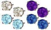 Genuine Sterling Silver 4 Pairs Of Swarovski Elements Stud Earrings