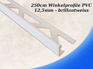 250cm Fliesenprofile PVC brilliantweiss 12,5mm Fliesenschiene Fliesenabschluss