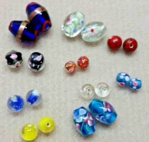 20 Mixed Pairs Hand Made Lamp Work Glass Beads 40 Beads, over 100gms