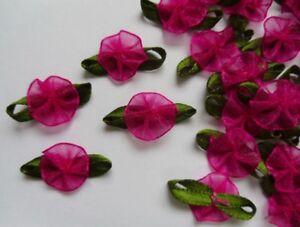 "R0119S Shocking Pink Organza  Ribbon Flowers w// Beads- 36 pcs W 1/"""