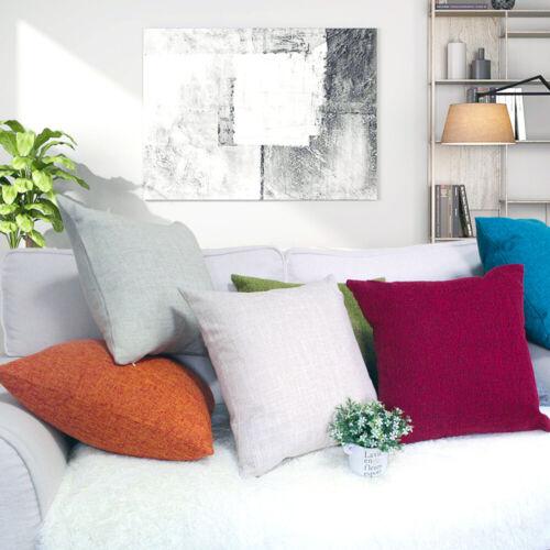 Simple Solid Color Linen Cotton Pillow Case Home Sofa Décor Large Cushion Cover