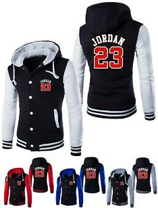 6e26465e7c Details about NEW Michael Jordan 23 Baseball Jacket Mens Hooded Button Men  Coat Hoodie Outwear