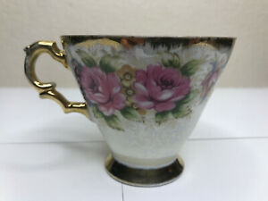 Vintage-Norcrest-FINE-CHINA-NW-C-367-Floral-Design-Tea-Cup-Hand-Painted