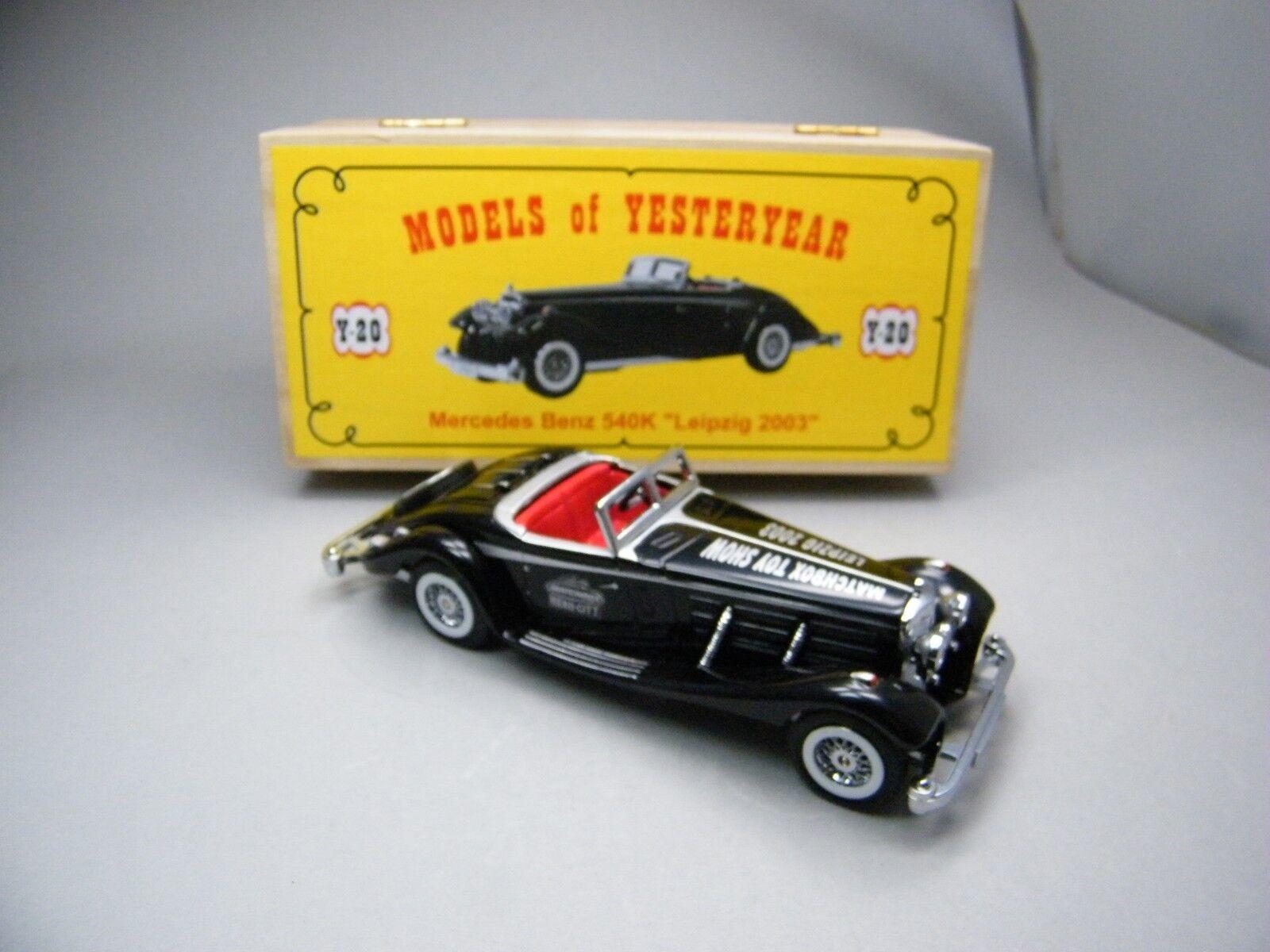 Matchbox MoY C2 C2 C2 Y20 Mercedes Benz 540K black Leipzig 2003 selten OVP K13 930f1c
