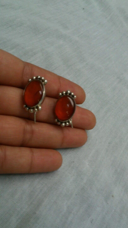 Pretty vtg.  sterling 925 honey amber wire earrings
