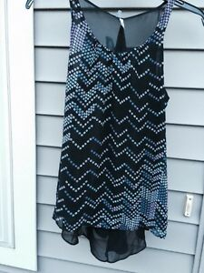 Maurices-Tank-Top-Solid-Polyester-Black-Clubwear-XS-Sleeveless-Women-039-s-New
