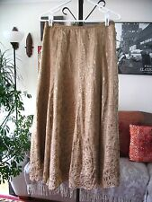 SOFT SURROUNDINGS sz XS Gold Burnout Silk Blend Long maxi Skirt