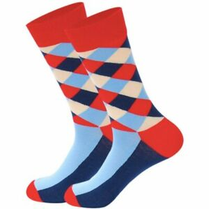 Mens-Crew-Socks-Argyle-Fancy-Red-Sock-Novelty-Funny-Funky-Happy-Crazy-Cool