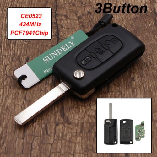 New Car Remote Key Fob 3 Button 434MHz PCF7941 ID46 Chip For Citroen C3 C2 C5