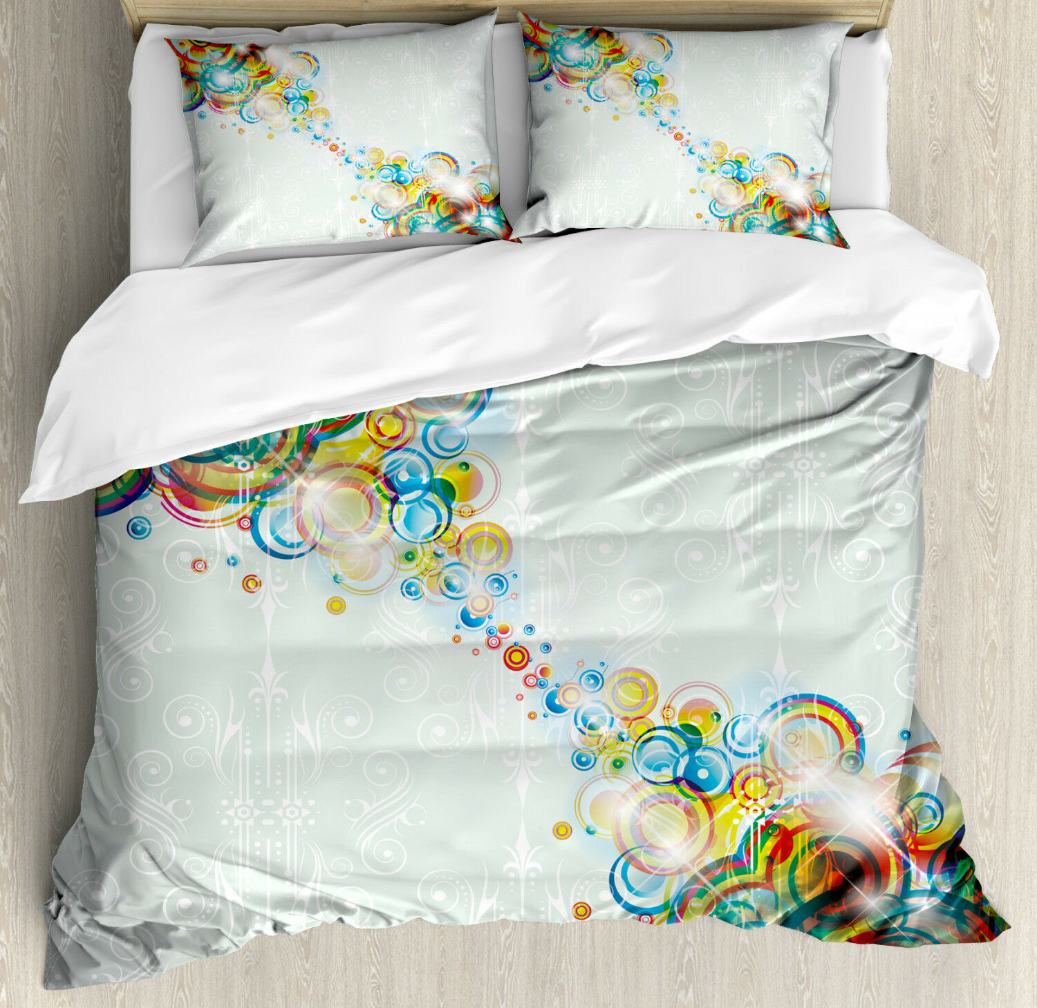 Abstract Duvet Cover Set with Pillow Shams Modern Rainbow Waves Print
