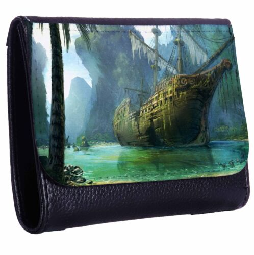 Pirate Ship Wreck Tri-Fold Wallet w// Button Pocket